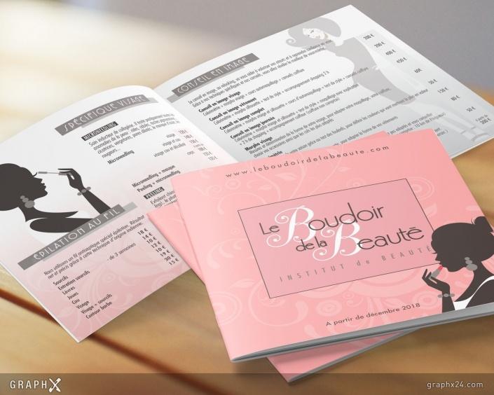 Brochure tarif pour un institut de beauté