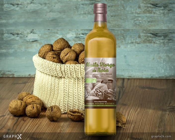 Étiquette pour bouteille d'huile de noix
