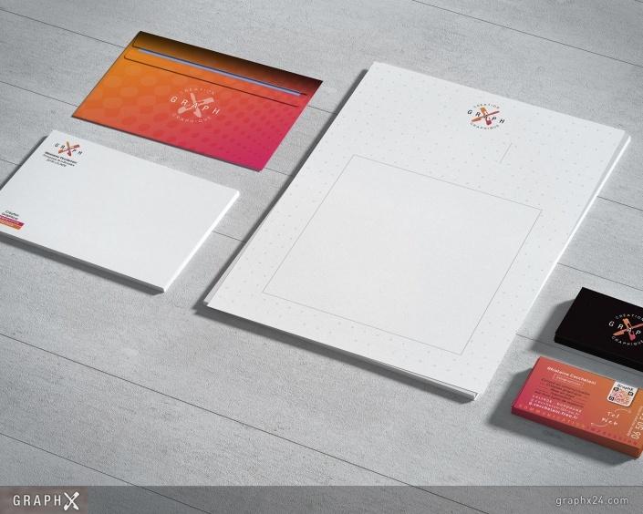 Entête de lettre, enveloppe et carte de visite