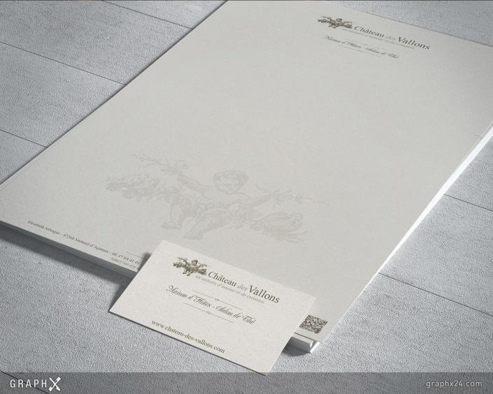 Tête de lettre et carte de visite château d'hôtes