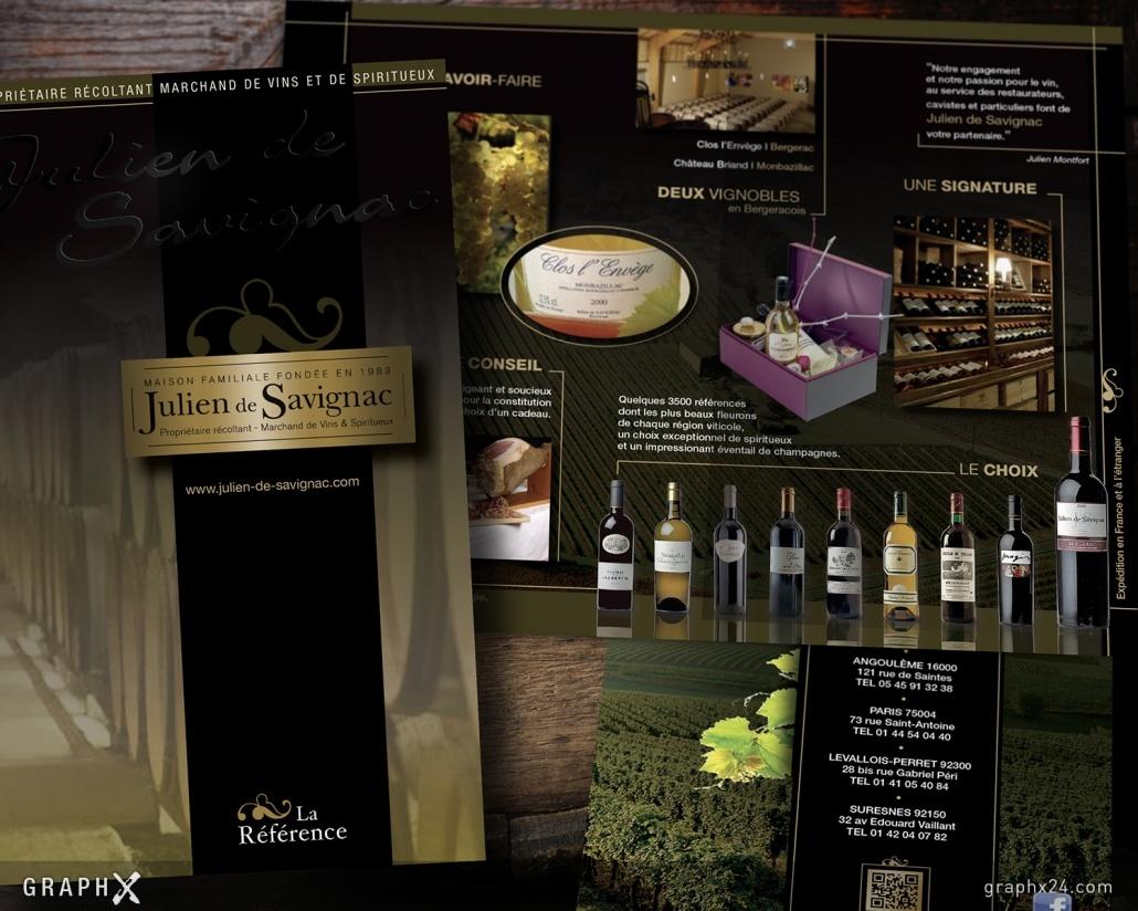 Dépliant luxe vins vignoble
